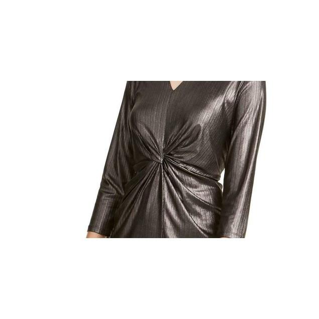 Alfani Women's Metallic Twist-Front Top Black Size Large