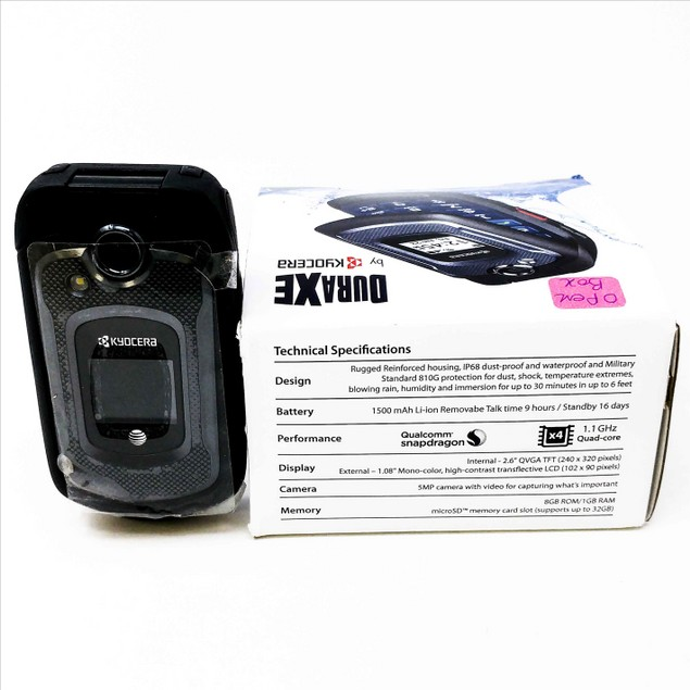 OB Kyocera DuraXe E4710 GSM Unlocked 4G LTE Rugged Flip Phone - Black