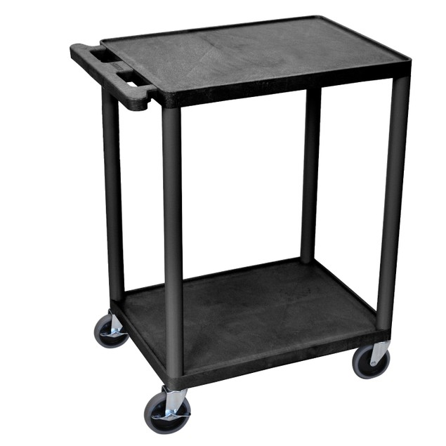 Luxor HE32-B 2 Shelves Multipurpose Storage Plastic Utility Cart - Black