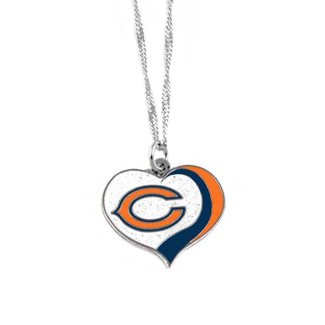 Chicago Bears NFL Glitter Heart Necklace Charm Gift
