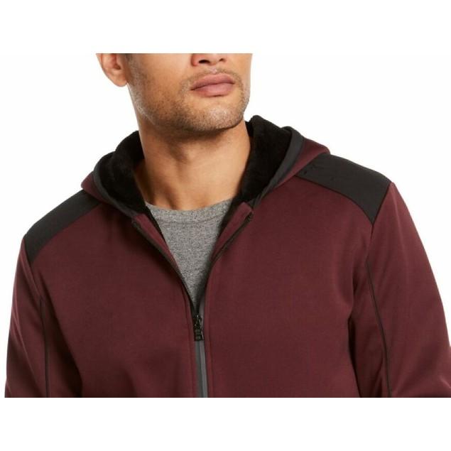 INC International Concepts Men's Overbound Hooded Jacket Wine Size Large