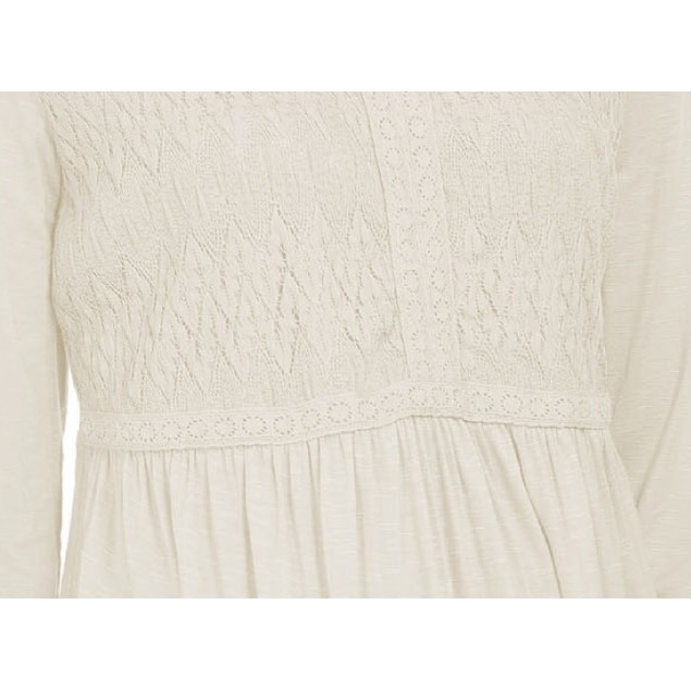 Style & Co Women's Lace-Front Draped Top Beige Size Small