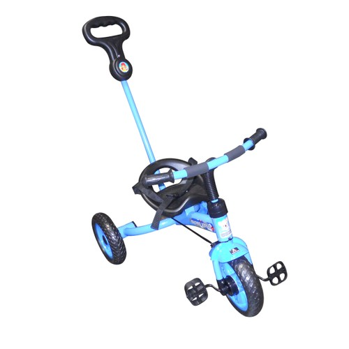 3 Wheel Blue Tricycle With Push Handle