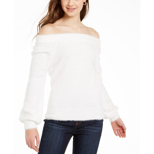 Almost Famous Women's Juniors' Off-The-Shoulder Sweater Natural Size Medium