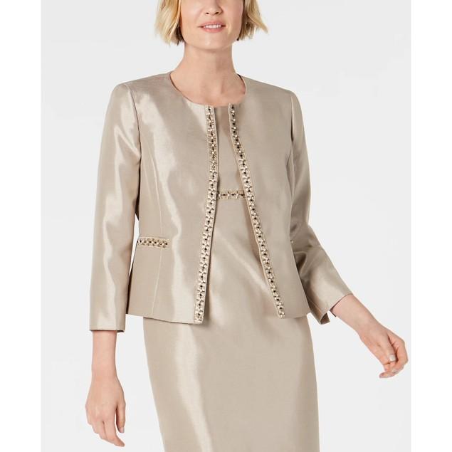 Kasper Women's Beaded Open-Front Jacket Beigekhaki Size 14