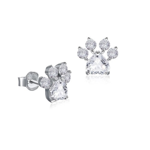 Sterling Silver Dog Paw Cubic Zirconia Post Earrings.