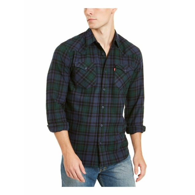 Levi's Men's Plaid Flannel Shirt Blue Size Extra Large