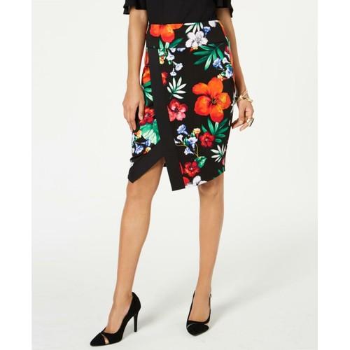 Thalia Sodi Women's Printed Floral Scuba Skirt Black Size Small