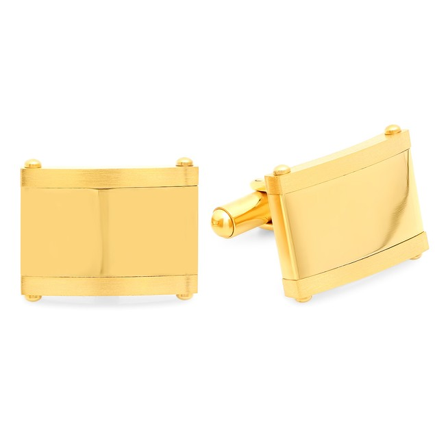 Men's 18K Gold Plated Stainless Steel Square Classic Cufflinks