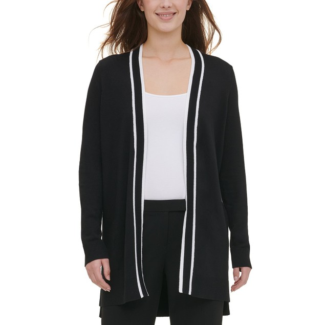 Piped Women's Open-Front Cardigan Black Size Large