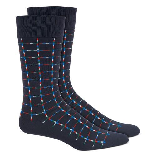 Alfani Men's Pixel Windowpane Socks Blue Size Regular