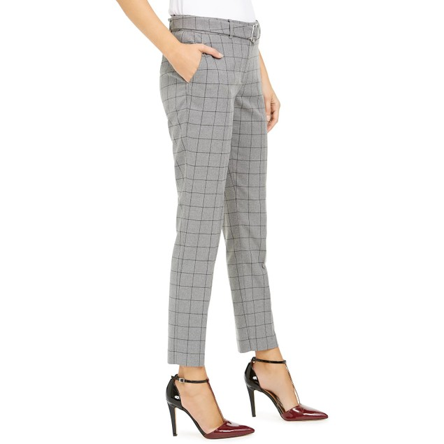 Calvin Klein Women's Windowpane-Print Belted Pants Gray Size 12
