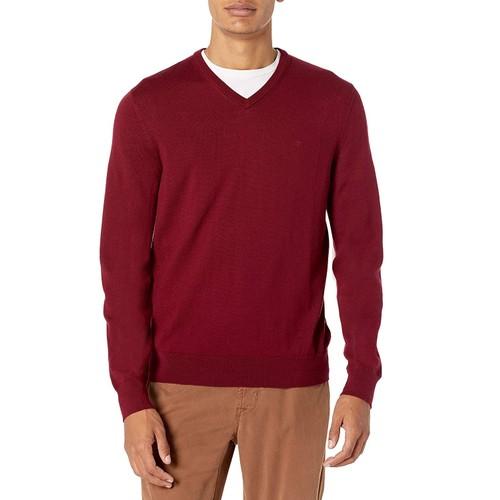 Calvin Klein Men's Merino Wool V-Neck Sweater Red Size Extra Large