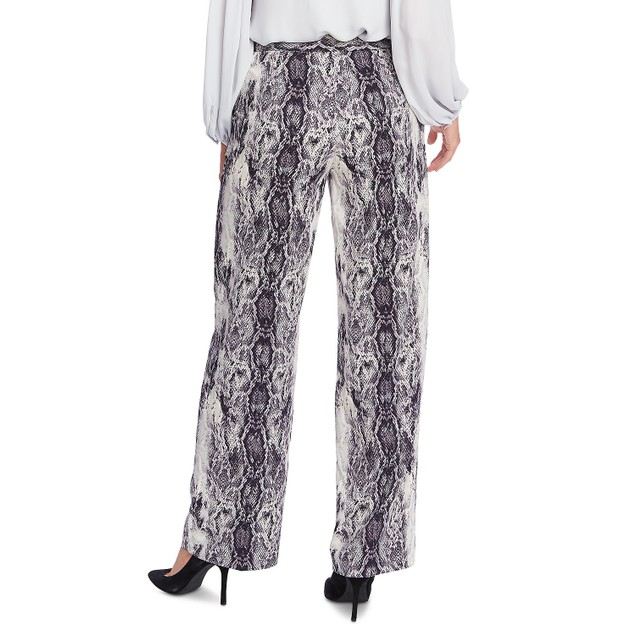 Vince Camuto Women's Snake Print Pintuck Wide Leg Trousers Gray Size 2