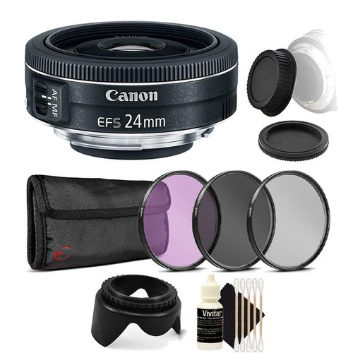 Canon EF-S 24mm f/2.8 STM Lens  + 52mm Filter Kit + Tulip Lens Hood + Rear & Front Cap + 3pc Cleaning Kit