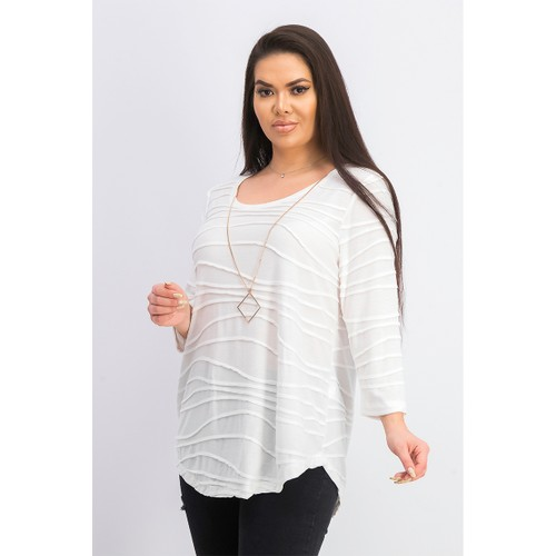 JM Collection Women's Wavy Textured Knit Top White Size Medium