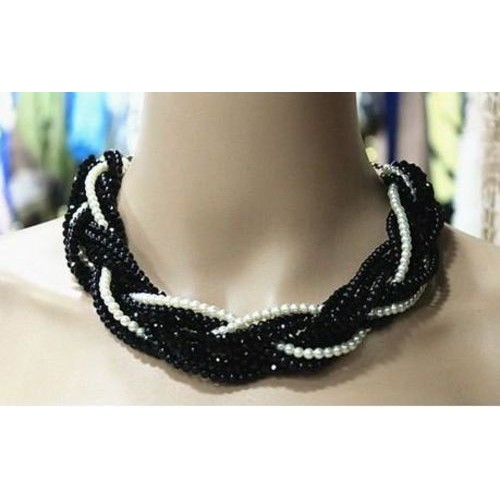 Black onyx two tone necklace