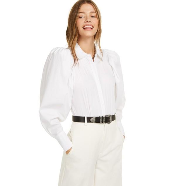 Danielle Bernstein Women's Puff Sleeve Bodysuit White Size Large