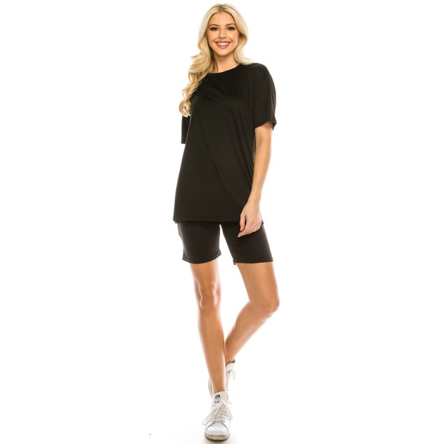Haute Edition Matching Biker Short and T-Shirt Set with Plus Size option
