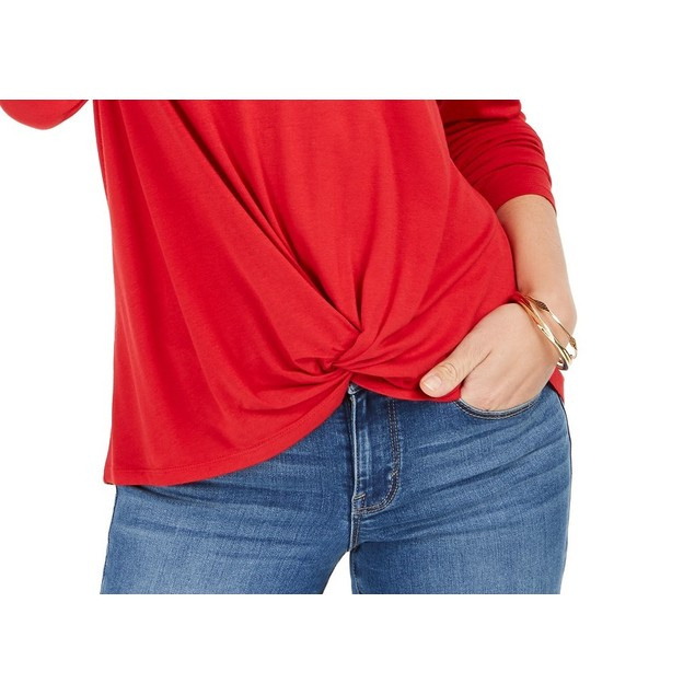 Style & Co Women's Twist-Front Top Red Size Extra Large