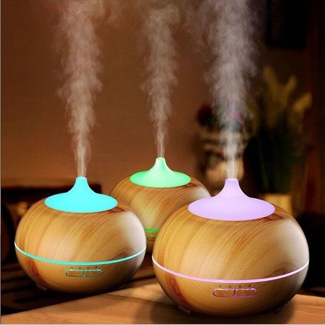 Essential Oil Humidifier Natural Oak Design With Easy Remote