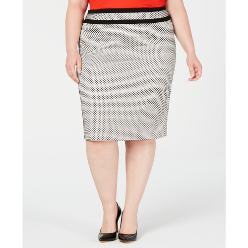 Calvin Klein Women's Plus Size Piped-Trim Skirt Gray Size 18