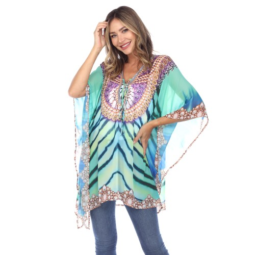 Short Caftan with Tie-up Neckline - 7 Colors - Extended Sizes