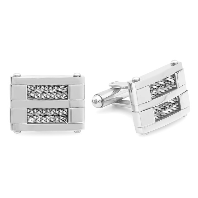 Men's Stainless Steel Square Wire Inlay Cufflinks