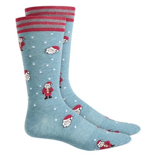 Bar III Men's Santa Socks Blue Size Regular