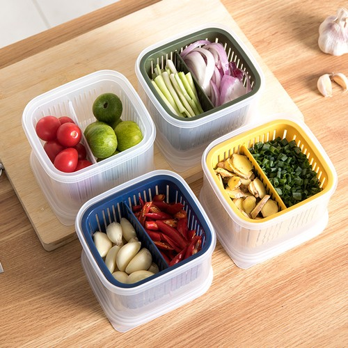 Storage Box With Cover For Onion, Ginger, Garlic And Drain