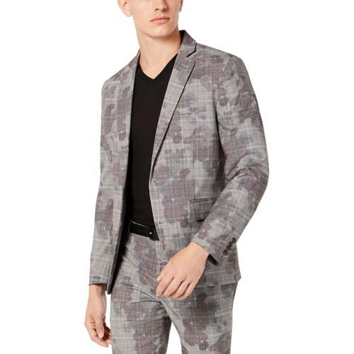 INC International Concepts Glen Plaid Slim Fit One-Button Blazer Size Large