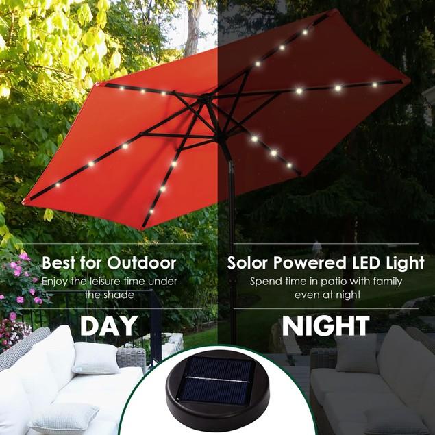 Costway 9FT Patio Solar Umbrella LED  Steel Tilt W/ Crank Blue\Orange