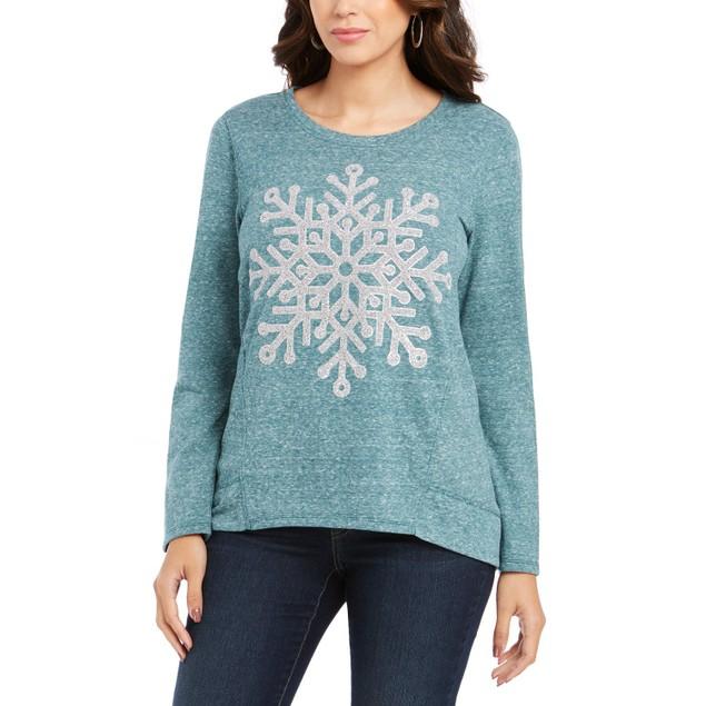 Style & Co Wo Petite Snowflake-Graphic Sweatshirt Green Extra Large