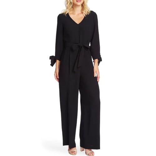 Cece Women's Tie Sleeve Moss Crepe Jumpsuit Black Size 10