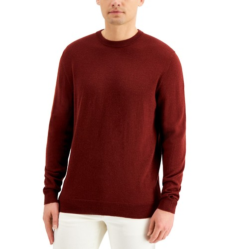 Club Room Men's Solid Crew Neck Merino Wool Blend Sweater Cherry Size Large