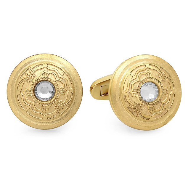 Men's 18K Gold Plated Stainless Steel Cufflinks With Simulated Diamond
