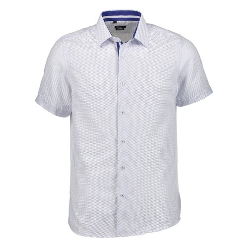 Rosso Milano Modern Fit Short Sleeve White Royal Houndstooth Dress Shirt