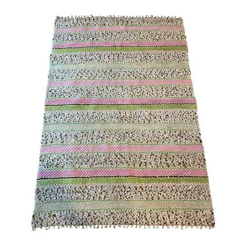 Pink Chenille Woven Hallway Rug, Striped Area Rug, Pink Green & WhiteCotton