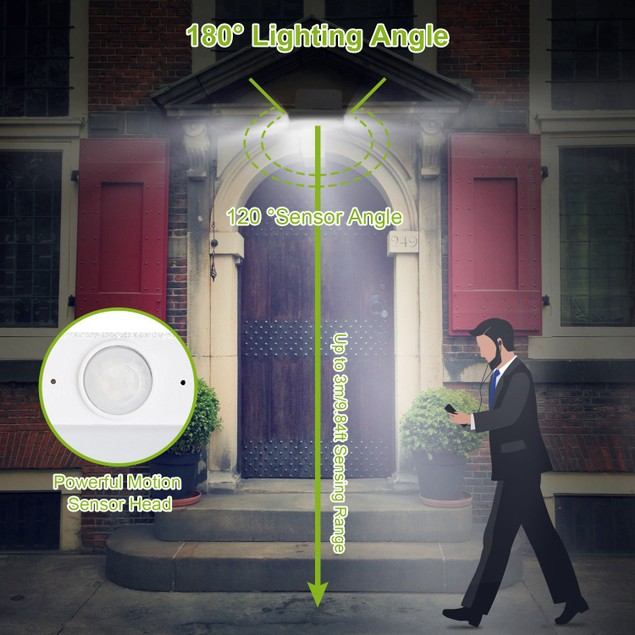 Solar Wall Lights Outdoor 16LEDs Stair Lamps 120° Motion Sensor