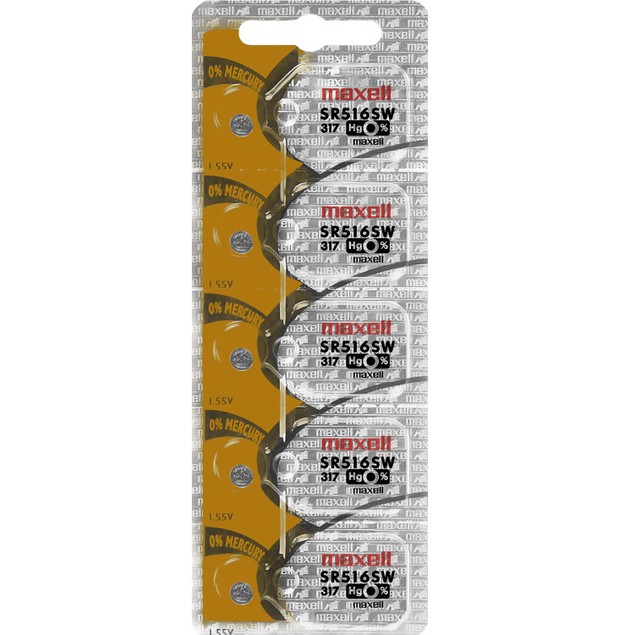 Maxell 317 (SR516SW) Silver Oxide Watch Batteries (5 Pack)