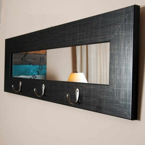 """BrandtWorks Perfect Last Look Black Wall Mirror with Hooks 32.5"""" x 10.5"""""""