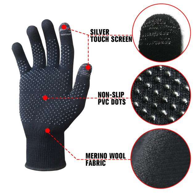 EvridWear Merino Wool Liner Gloves with Touchscreen