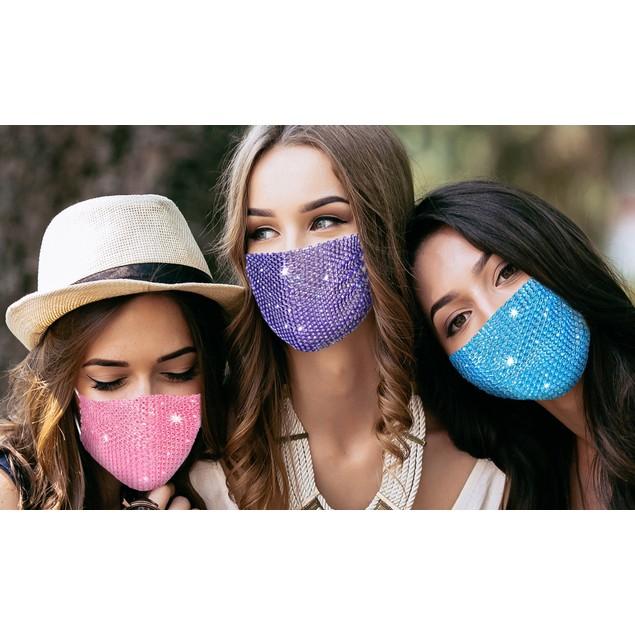 5-Pack: Rhinestone Crystal Face Mask