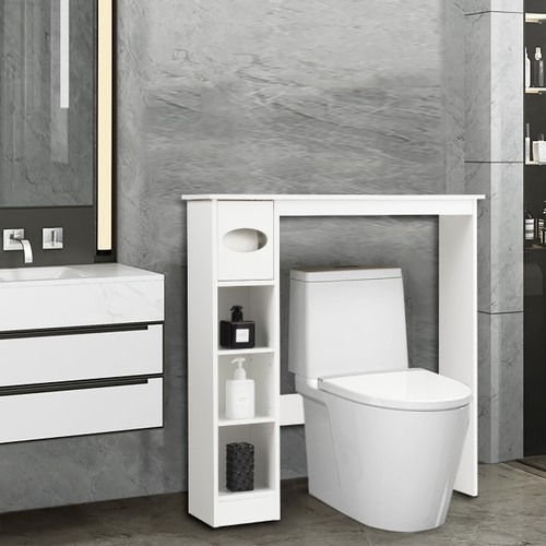 Costway Wooden Over the Toilet Storage Cabinet Bathroom Space Saver w/Paper