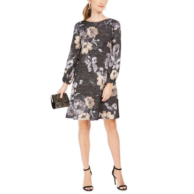 Jessica Howard Women's Metallic Floral Print Dress Charcoal Size 1