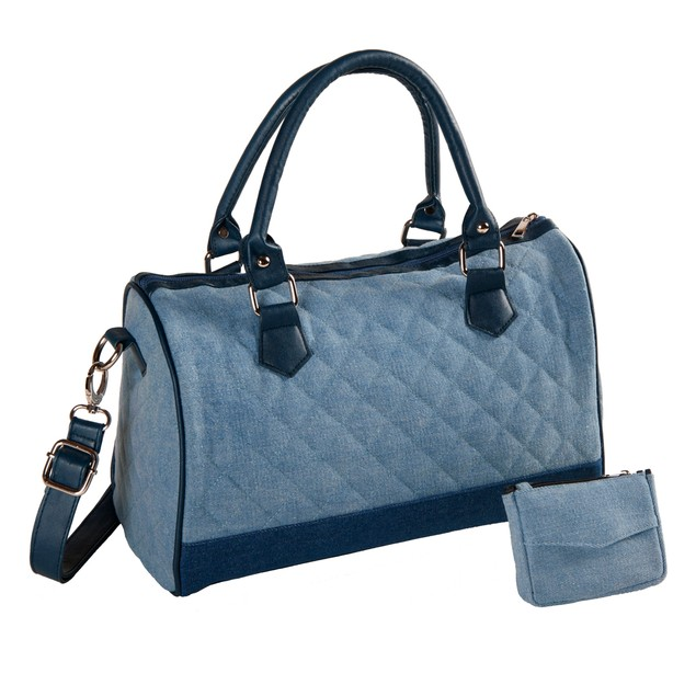 Quilted 2-Tone Plush-Denim Shopper Bag with Matching Coin Purse-Key Fob