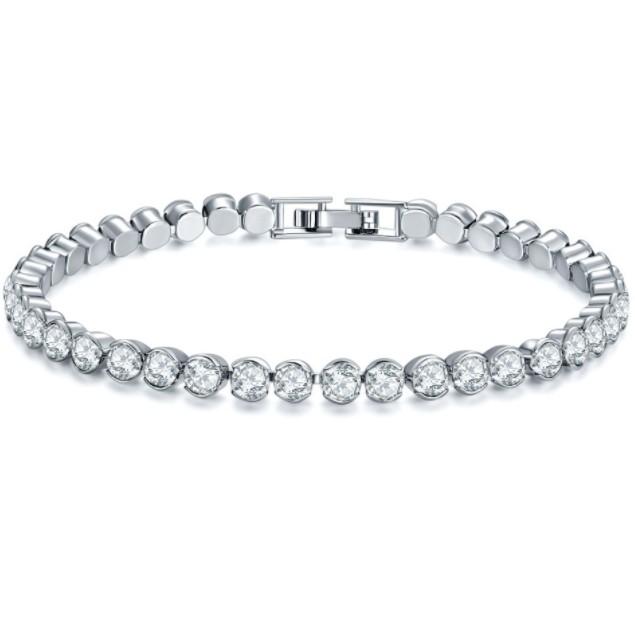 18Kt White Gold CZ Round Cut Tennis Bracelet