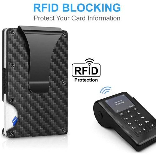 Mens Wallet Carbon Fiber Card Holder with Money Clip RFID Blocking