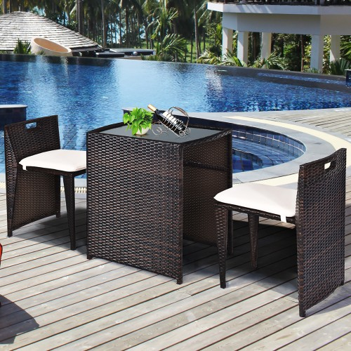 Costway 3PCS Outdoor Patio Rattan Furniture Set