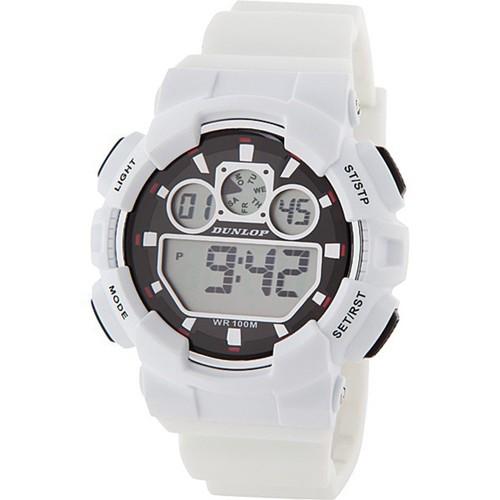 Dunlop Digital Watch Men´s DUN248G11 White/Black Rubber Sport Wsatch